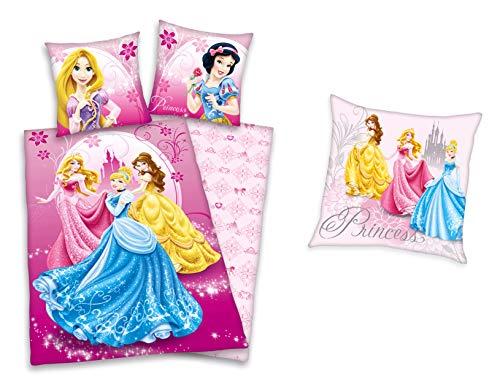Disneys Princess Geschenkset: Prinzessin Bettwäsche 80x80 135x200cm + Kuschelkissen 40x40cm, gefüllt