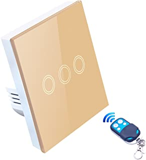 MoKo WiFi Interruptor Inteligente de Pared, IFTTT 3 PZS Solo 2.4GHz Red Funciona con Alexa Temporizador WiFi 2 Gang Interruptor de Luz Control Remoto//Voz Blanco Atajo de Siri Google Home