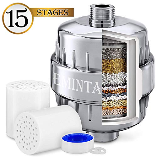 15 Stages Shower Filter, Shower Head Water Filter - NEW FORMULA Vitamin C and Coconut Shell Carbon for Remove Chlorine, Improve Skin Hair and Nails - Prefect for All Showerheads, 2 Cartridges Included