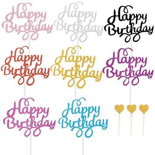 BOYATONG Cake Topper, Cake Topper Happy Birthday, Liebeskuchen tortendeko Geburtstag, Glitter torten Topper Geburtstag, Geburtstagstorte Topper, Cupcake Topper für Motto Party Torte Dekoration