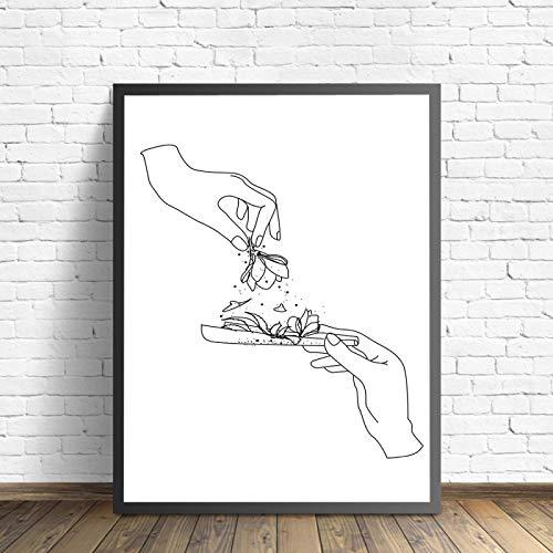 Arte lineal Dibujo Weed Herbs Addiction Canvas Painting Weed Smokers Herbal Leaf Posters e impresiones Imágenes de pared para habitación 60x80cm Sin marco