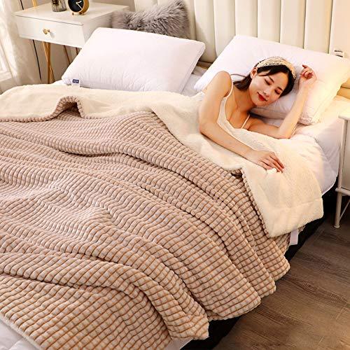 OLLOLCCY Caliente Premium Lana Manta Super Soft Esponjoso Caliente Cama Manta De Lana Microfibra Respirable Acogedor Manta para Sofá Oficina Viaje-H 100x140cm(39x55inch)