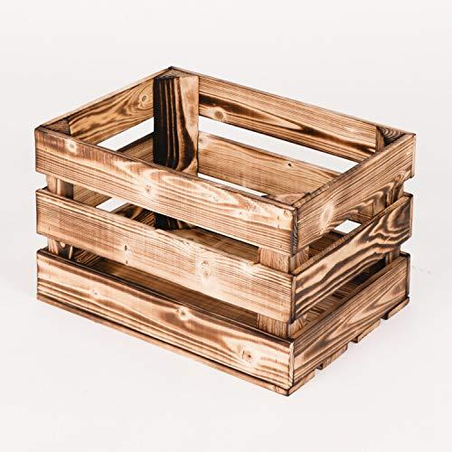 LAUBLUST Vintage Holzkiste Geflammt | Aufbewahrungskiste ca. 40x30x25cm - L | Weinkiste & Obstkiste - Möbelkiste & Deko