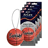 HookUp Car Air Fresheners - 4 Pack of Sports Themed Hanging Car Air Freshener   Fresh and Unique Black Gold Long Lasting Fragrance for Car, Home, Office, Sports Bag, Locker, and Closet