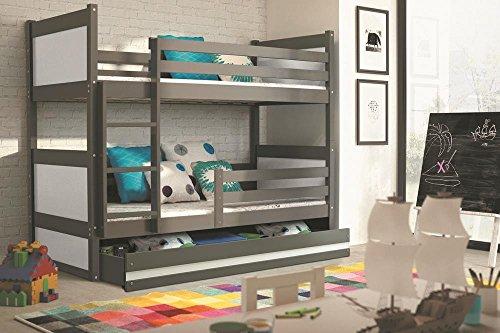 Interbeds Etagenbett Hochbett RICO 190x90cm Farbe: Grau, mit Latternoste und Matratzen (WEIβ)