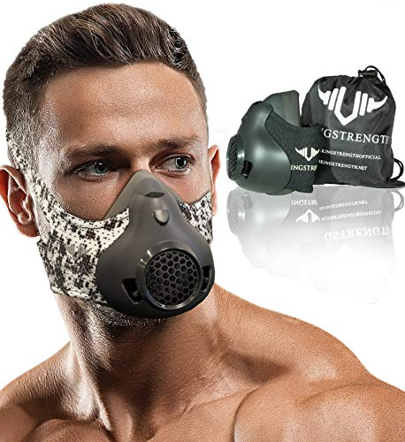 Vikingstrength Workout Mask for Running Biking MMA Endurance with Adjustable Resistance, High Altitude Elevation Mask for Air Resistance Training [24 Breathing Levels] … (White cammo)