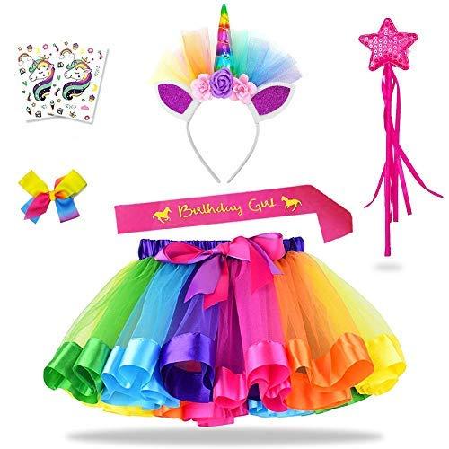 Daisyformals Rainbow Tutu Unicorn Skirt Set (7 Pack) with Unicorn Headband,...