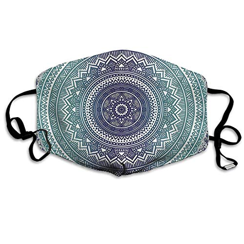Máscara anti atardecer azul marino verde azulado Ombre Mandala Resualble máscara bucal pasamontañas para hombres y mujeres