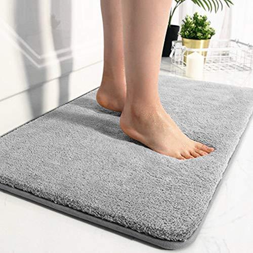 Naosummy - Tappetino da bagno in memory foam, antiscivolo, assorbente, in velluto, colore: grigio, 20 x 32 cm