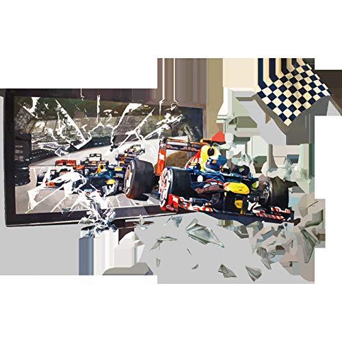 DAIZHJ 3D Muurstickers Racing Gebroken Doos Slaapkamer Woonkamer Verwijder Waterdichte Home Versierde Stickers Behang