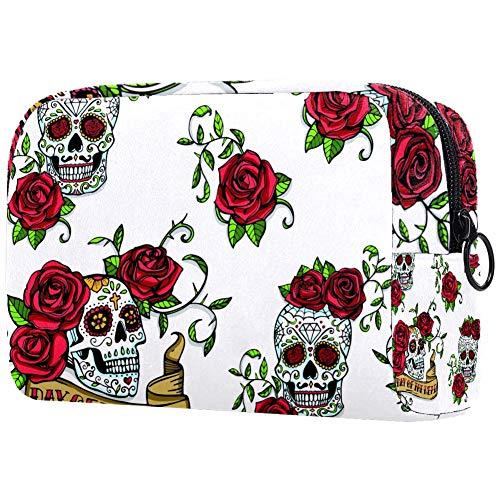 Trousse de toilette portable personnalisable pour femme Motif tête de mort avec rose