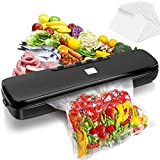 OPOLEMIN Vacuum Sealer Machine, Automatic Food Vacuum Sealer for Food Preservation, Suitable for Dry & Moist Food Modes | Compact Design | Led Indicator Lights |Easy to Clean | with 15 Vacuum Sealer Bags