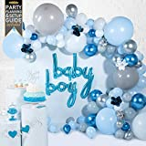 Baby Shower Decorations for Boy (129 Piece Premium Kit) Includes Step-by-Step Video Setup Instructions, Balloon Garland Kit with Blue Balloons, Party Decoration and Balloon Arch