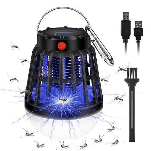 Molbory Insektenvernichter Elektrisch, 3-In-1 Solar Mückenlampe Campinglampe, Wasserdicht Mückenkiller Insektenfalle, USB Wiederaufladbar Fliegenfalle Insektenlampe für Indoor Outdoor