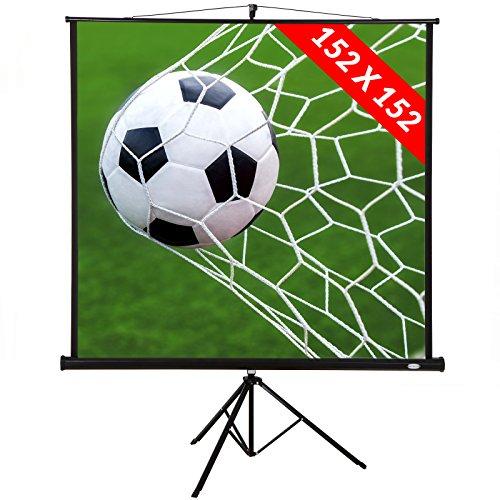 Jago® Schermo per Proiettore con Treppiede - 152x152 cm, Vinile, 85 Pollici, Formato 1:1, 4:3, 16:9 - Schermo di Proiezione, Telo da Videoproiettore