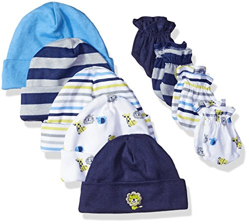 GERBER Baby Boys' 9-Piece Cap and Mitten Bundle, Safari, Newborn