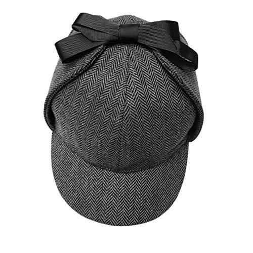 AROVON Neue Sherlock Holmes Hut Unisex Winter Wolle Baskenmützen für Männer Deerstalker Tweed Cap Zubehör Britischer Detektiv Hut Frauen, Dunkelgrau, L 58-60CM