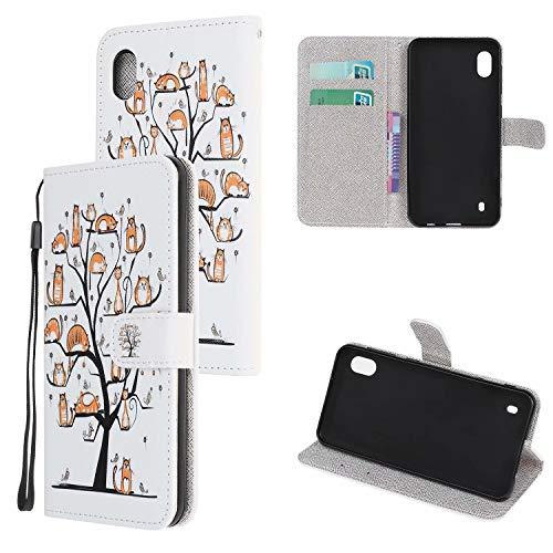 Miagon Bunt Muster Full Body Hülle für Samsung Galaxy A01,PU Leder Leder Flip Case Schutzhülle Tasche mit Ständer Kartenfach Magnetschnalle,Haustier Baum