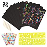 yeestone Scratch <span class='highlight'>Art</span>s for Kids,20pcs Large Scratch Paper Rainbow Scratch Pads  4pcs Stickers 4pcs Drawing Stencil Rulers 5pcs Wooden Stylus Black Magic Painting Boards Combo (7.8*11inch)