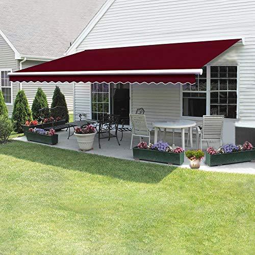 Dakea Markise Balkonmarkise Sonnenschutz mit Kurbel Anti-UV wasserfest und Wasserdicht 300 x 250cm Weinrot
