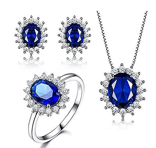 ZRFNFMA Collar de mujer de plata de ley 925 anillos de moda de lujo nano zafiro tres piezas conjunto pendientes caja de regalo para madre azul número 7