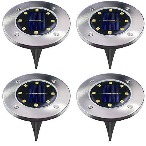 LED-Solar-Leuchten für den Boden, 4 Stück, 4 LED pro Licht, wasserdicht, für den Garten, Outdoor, Auffahrt, Rasen, Weg 8led Warm White