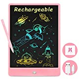 Rechargeable Doodle Board, Drawing Pad for Kids, 10 inches Erasable LCD Writing Table, Travel Activities Road Trip Toys for 3 4 5 6 7 Year Old Girls Boys - Pink