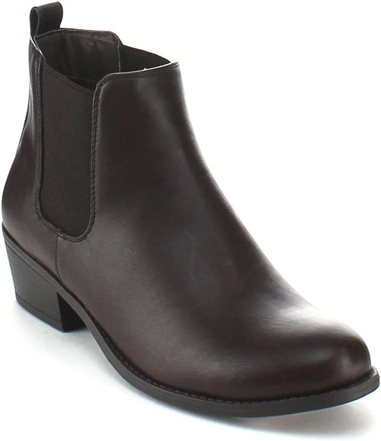 Women's Pull On Ankle Boots Ladies Low Chunky Heel Stylish Elastic Panel Riding Booties Slip On shoes