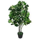 Leaf Design-Ficus Artificial de Hoja perenne con 95cm de Altura, Verde Oscuro, Extragrande, Planta con Maceta de plástico en Color Negro, 95cm Arboricola