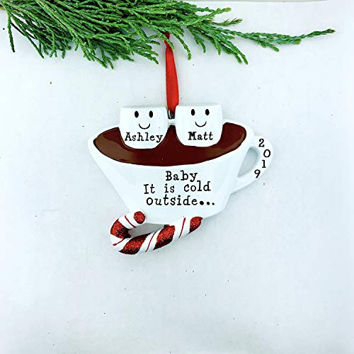 onepicebest Marshmallow Couple Personalized Christmas Ornament, 2 Marshmallows In Hot Chocolate, Baby It Is Cold Outside, Name Personalized Decor