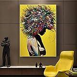 wZUN Pintura de Lienzo Abstracta de niña Africana, Arte de Pared de Graffiti, impresión de Lienzo, Imagen de Arte Africano para la Pared de la Sala de Estar 60x90 Sin Marco