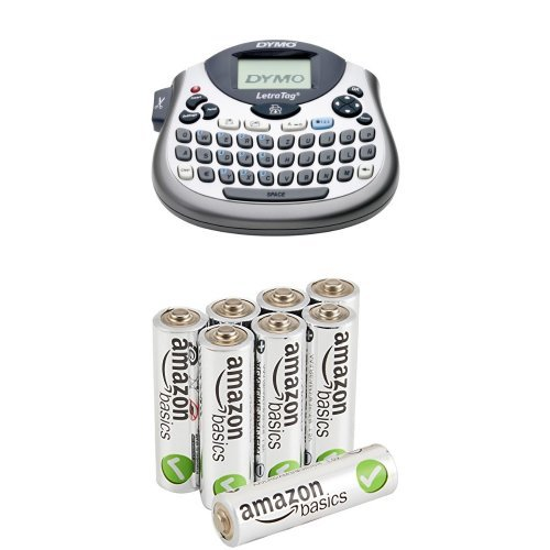 Dymo S0758370 Letra Tag LT-100T Elektronisches Beschriftungsgerät & Amazon Basics Performance Batterien Alkali, AA, 8 Stück (Design kann von Darstellung abweichen)