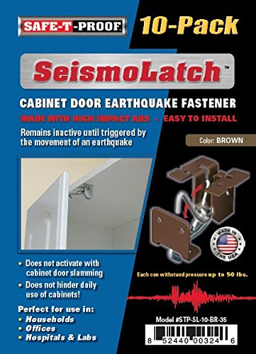 SeismoLatch Automatic Earthquake Activated Cabinet Latch, Brown, 10-Pack