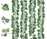 AIOR Plantas Hiedra Artificial Decoración Exterior Colgante 84ft-12 Guirnalda Hiedra Artificial Vine Follaje Hojas Verdes Flores para Hogar Boda Escalera Ventana Balcón Valla Jardín Mesa Fiesta