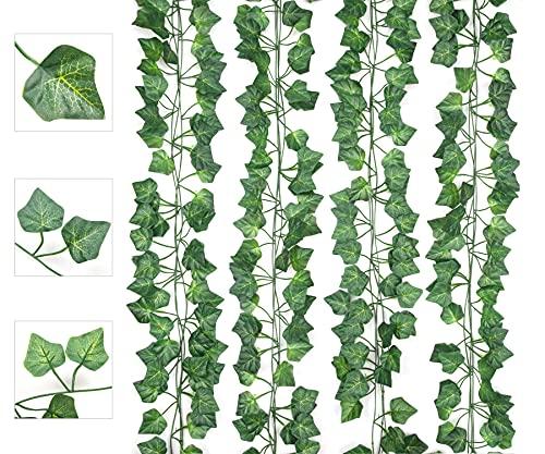 AIOR Plantas Hiedra Artificial Decoración Exterior Colgante 84ft-12 Guirnalda Hiedra Artificial Vine...
