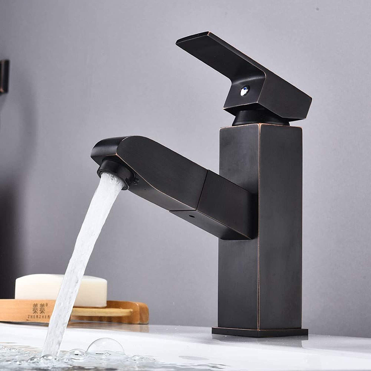 Bathroom Sink Taps Retro Basin Faucet Black Pull-Out Brass Mixer Mixing Faucet Bathroom Creative Single Handle Faucet