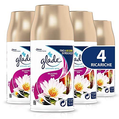 Glade Automatic Ricarica, Profumatore per Ambienti Spray Fragranza Relaxing Zen, Formato Scorta, 4 x 269 ml