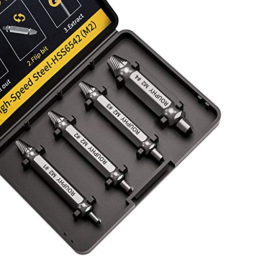 ROUPHY Damaged/Stripped Screw Extractor Set, Broken Bolt Remover, Made From HSS M2 / 6542 High Speed Steel With Hardness Over 65hrc