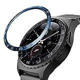 MoKo Ghiara Orologio in Acciaio Compatibile con Samsung Gear S2 / Galaxy Watch 42mm / Gear Sport, Smart Watch Bezel 2PCS con Numeri Secondi Incisi, Protezione Quadrante Antigraffi - Black & Blue