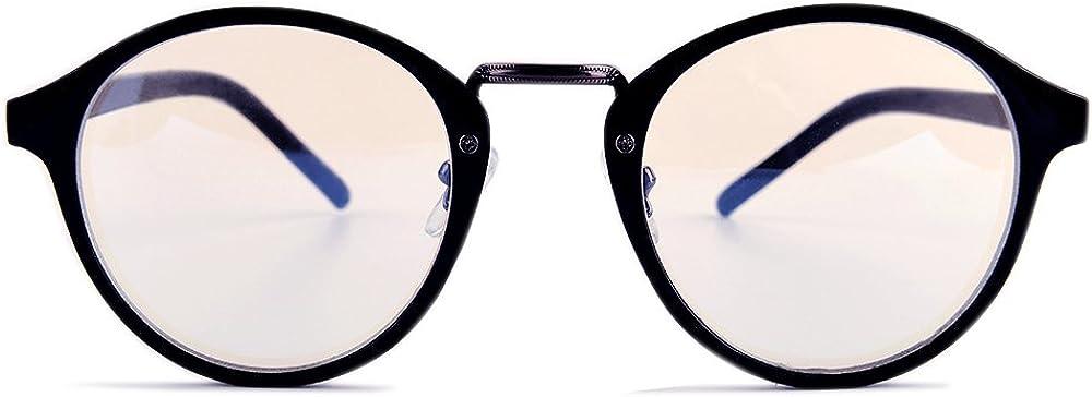 Gudzws Anti Blue Light Rays Glasses Retro Round Relieve Eyes Fatigue Unisex