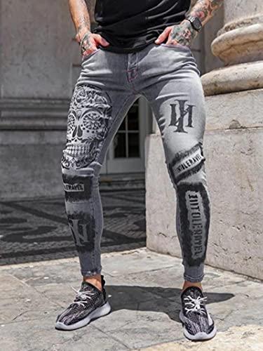 WQZYY&ASDCD Jeans Vaqueros Pantalon Pantalones Vaqueros Elásticos Hombre con Estampado De Calavera,...