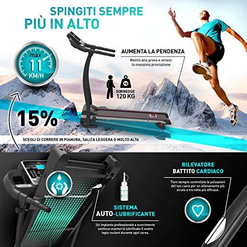 Cinta DE Correr ELÉCTRICA Plegable, 11 KM/H, 1HP (1800W / 2,5HP Peak) Sensor CARDÍACO, INCLINACIÓN Ajustable, APLICACIÓN DE Entrenamiento Y MULTIJUGADOR KINOMAP, 12 PROGRAMAS, LUBRICACIÓN AUTOMÁTICA