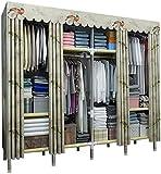 Armario Guardarropa de tela simple, vestidor portátil de tela grande Ropa de vestir, estantes de almacenamiento, tipo de cortina de puerta, armario abierto con vara colgante, armarios plegables mueble