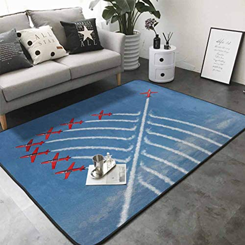 Floor Mat Home Decoration Supplies Acrobat Little Show Planes in Clear Sunny Sky with Smoke Behind Image Print 64'x 96' Abstract Design Area Rug