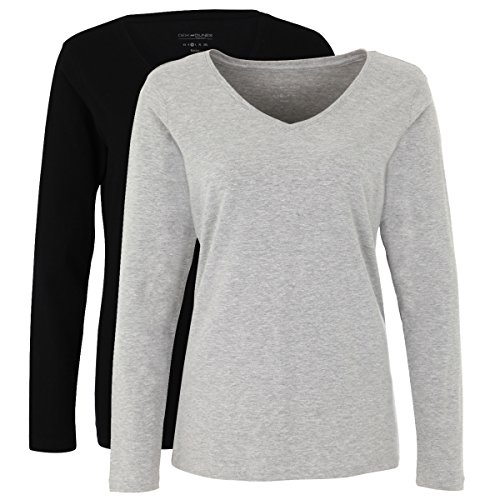 Deik&Dunes Liva - Basic 2er Pack T-Shirts Langarm V-Ausschnitt in grau/schwarz, Größe M