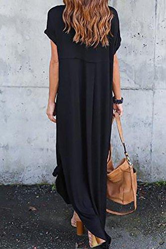 Vestidos Mujer Casual Bohemios Playa Largos Verano Vestido Boho Hendidura Falda Larga Maxi Vestido Playeros Black2 S