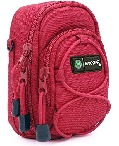 Baxxtar Redstar V4 Kameratasche rot Größe (L) z. B. für - Coolpix A900 A1000 - Lumix DC TZ202 TZ96 TZ91 DMC TZ101 TZ81 LX15 - PowerShot SX730 SX740