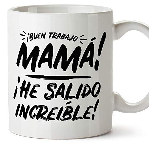 """MUGFFINS Tazas para Mamá –""""Buen trabajo Mamá"""" (Modelo 2) – Regalos para el día de la Madre/Desayunos originales"""