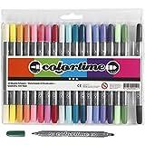 Colortime Dual-Filzschreiber, Strichstärke: 2,3+3,6 mm, Zusätzliche Farben, 20Stck.