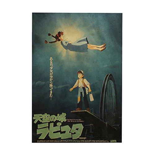 Haushele OFD Japanische Anime Hayao Miyazaki Anime Tonari no Totoro Howl's Moving Castle 風立ちぬ Poster Kollektion Totoro Poster Dekoration Cafe Bar Poster(H02)